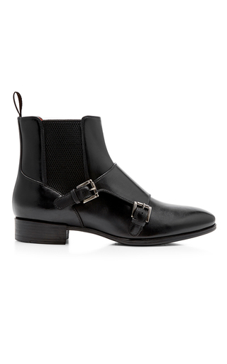 Medium santoni black double monk ankle boot
