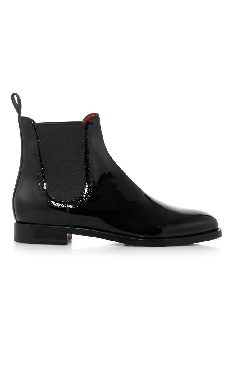 patent leather chelsea boots by santoni moda operandi. Black Bedroom Furniture Sets. Home Design Ideas