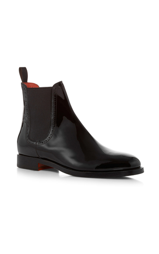 Medium santoni black patent leather chelsea boots