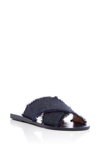Medium ancient greek sandals navy thais dark denim slides