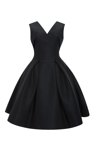 Medium zac posen navy silk faille cocktail dress