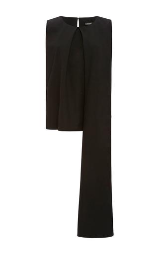 Medium zac posen black tropical wool asymmetric blouse
