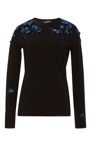 Medium zac posen black black cotton cashmere embroidered sweater