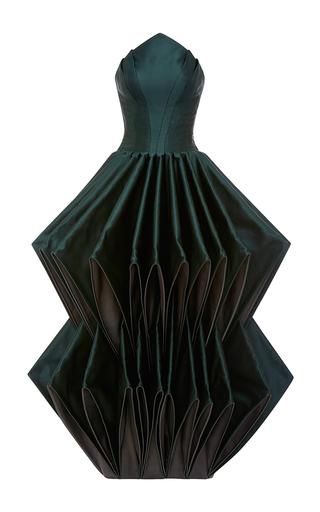 Medium zac posen green double face duchesse origami gown