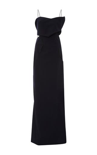 Medium zac posen navy tropical wool column gown
