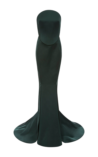 Medium zac posen green double face duchesse strapless gown