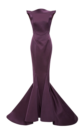 Medium zac posen purple double face duchesse open back gown