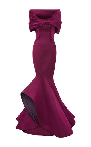 Medium zac posen burgundy off the shoulder gown