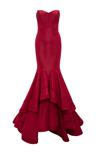 Medium zac posen burgundy classic silk faille mermaid gown