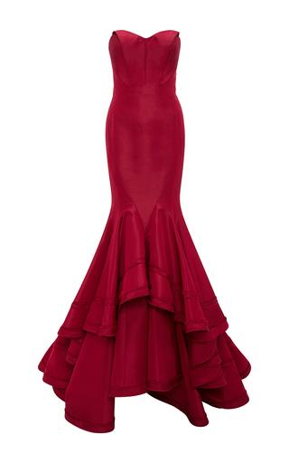 Medium zac posen burgundy classic silk faille mermaid gown