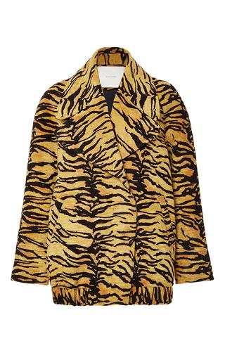 Medium adam lippes orange tiger jacquard double breasted coat