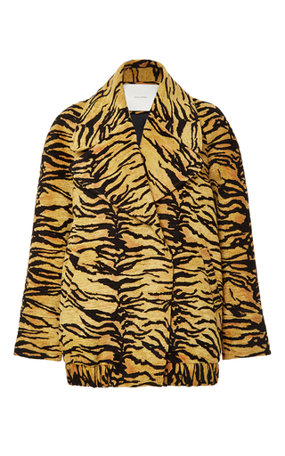 Medium adam lippes orange tiger jacquard double breasted coat