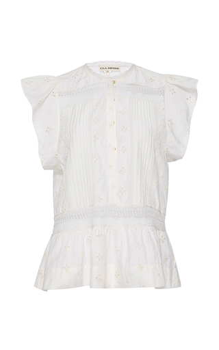 Medium ulla johnson white embroidered oksana top