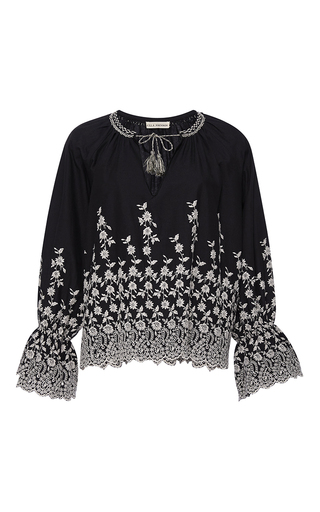 Medium ulla johnson black white floral embroidered sonya blouse