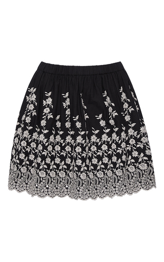 Medium ulla johnson black white coal floral embroidered isidora skirt