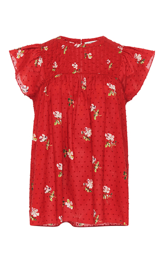 Medium ulla johnson red astrid floral blouse