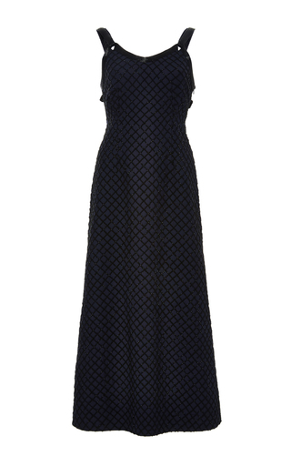 Medium adam lippes navy embellished a line dress