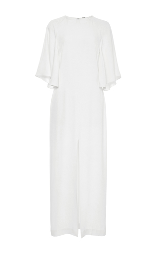Medium adam lippes white flounce sleeve satin crepe midi dress