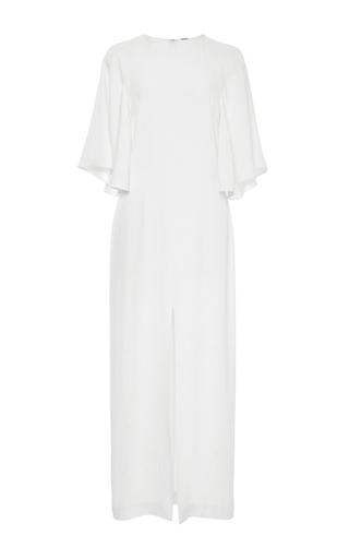Medium adam lippes white flounce sleeve satin crepe midi dress
