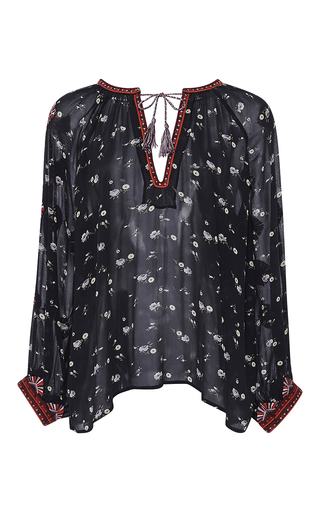 Medium ulla johnson navy embroidered floral lida blouse
