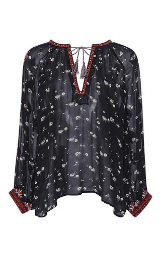 Medium ulla johnson navy embroidered floral lida blouse