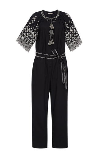 Medium ulla johnson black alexi short sleeve jumpsuit