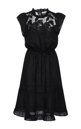 Medium ulla johnson black floral embroidered amelia dress