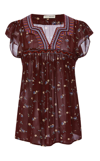 Medium ulla johnson burgundy embroidered floral top