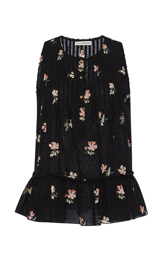 Medium ulla johnson black floral cecile top