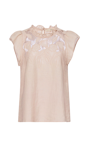 Medium ulla johnson light grey embroidered aimee top