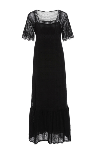 Medium red valentino black square neck crochet dress
