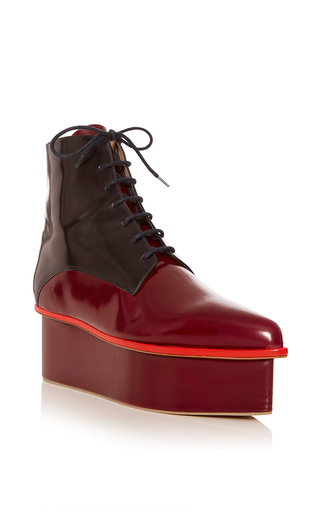 Medium delpozo red oxblood and indigo lace up platform ankle boot