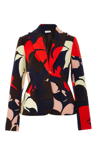 Medium delpozo floral floral printed cotton blazer