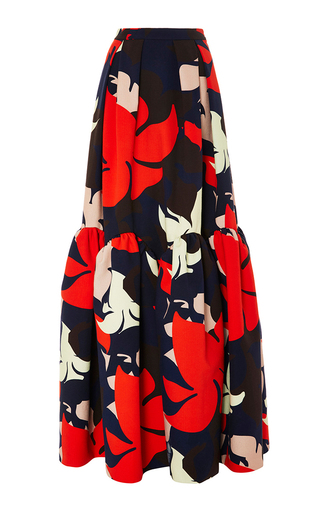Medium delpozo floral floral ruffled hem maxi skirt