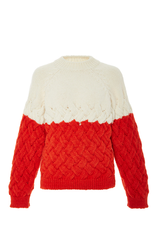 Medium delpozo red bi color alpaca pullover