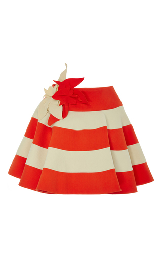 Medium delpozo red flower applique cotton cape