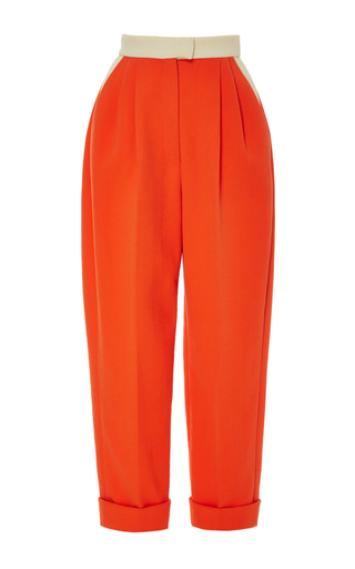 Medium delpozo red red flame cropped cotton trousers