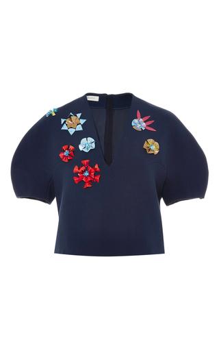 Medium delpozo navy flower embellished cropped blouse