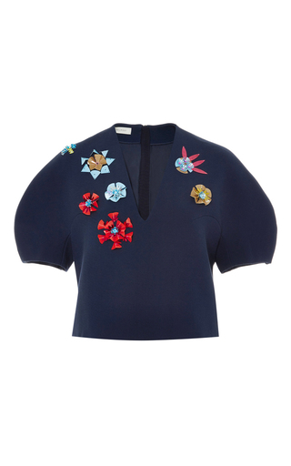 Medium delpozo navy flower embellished cropped blouse