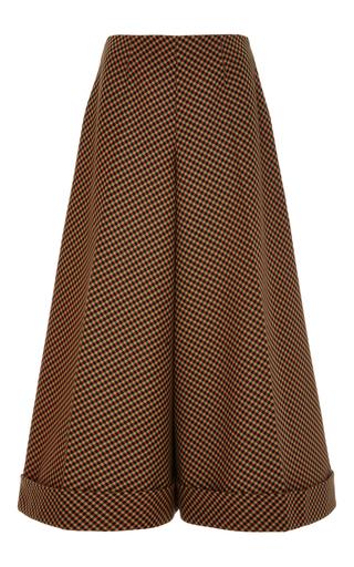 Medium delpozo brown camellia wide leg cropped cotton trousers