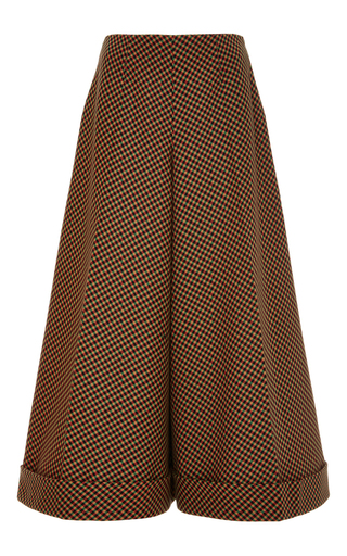 Medium delpozo brown camellia wide leg cropped cotton trousers