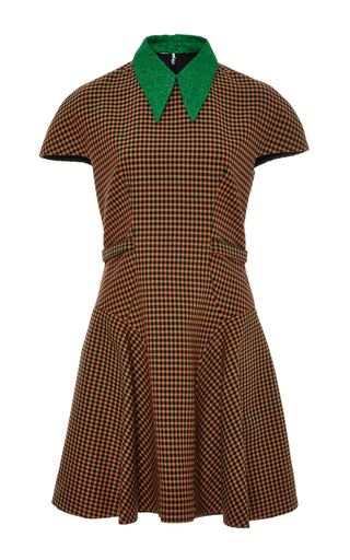 Medium delpozo brown cap sleeve cotton short dress