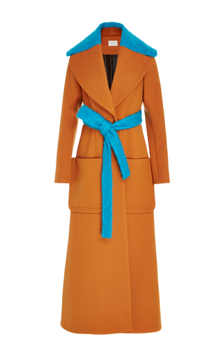 Medium delpozo brown wool wrap long coat