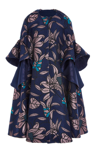 Medium delpozo floral ruffled jacquard coat