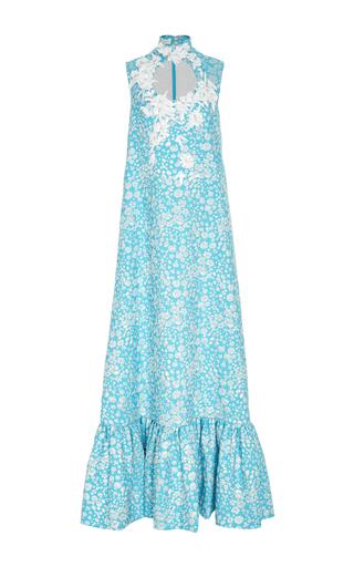 Medium delpozo blue sleeveless embellished jacquard long dress