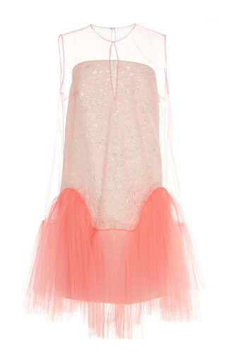 Medium delpozo pink sleeveless jacquard and tulle short dress