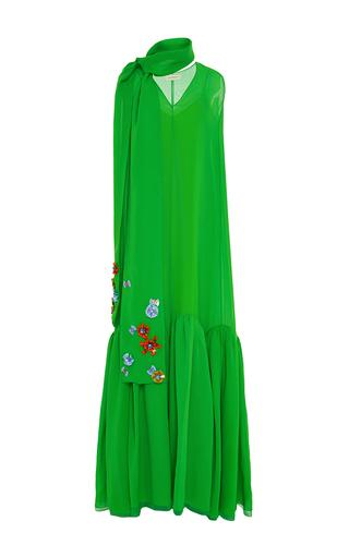 Medium delpozo green sleeveless v neck cotton long dress