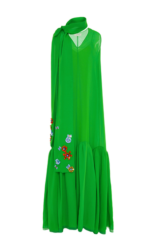 Medium delpozo green sleeveless v neck cotton long dress