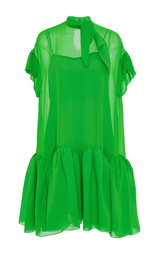Medium delpozo green short sleeve cotton short dress