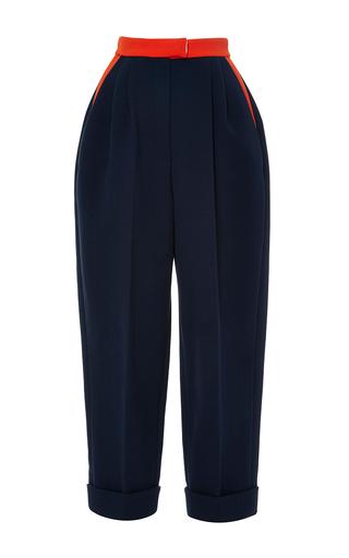 Medium delpozo navy insignia blue cropped cotton trousers